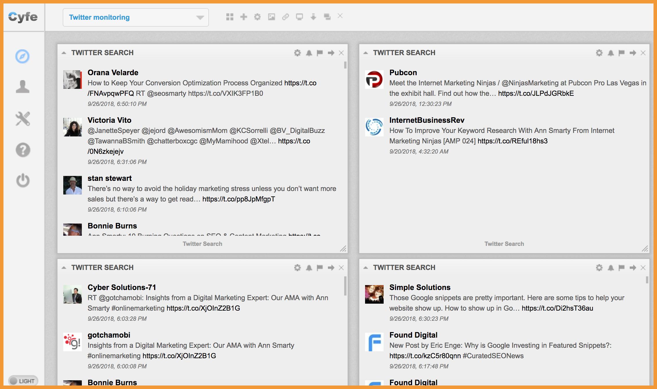 Cyfe Twitter Monitoring