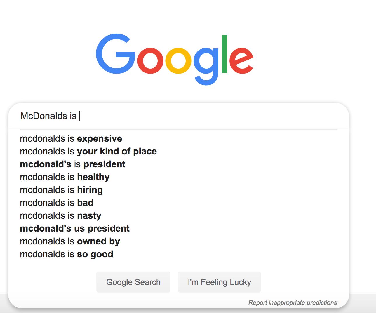 Google Suggest reputation