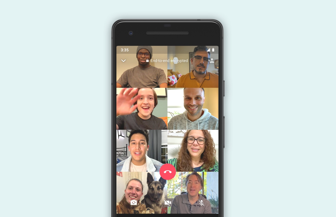 whatsapp 8-person video calling