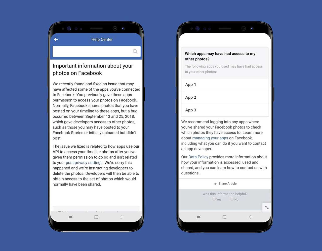 Facebook data breach notification