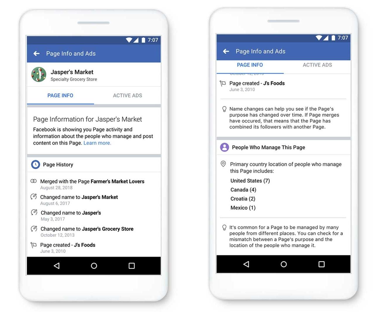 أدوات ترخيص الصفحة الجديدة من Facebook (لقطات)