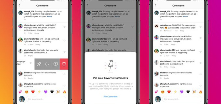 Instagram Gives All Users the Option to Pin Post Comments
