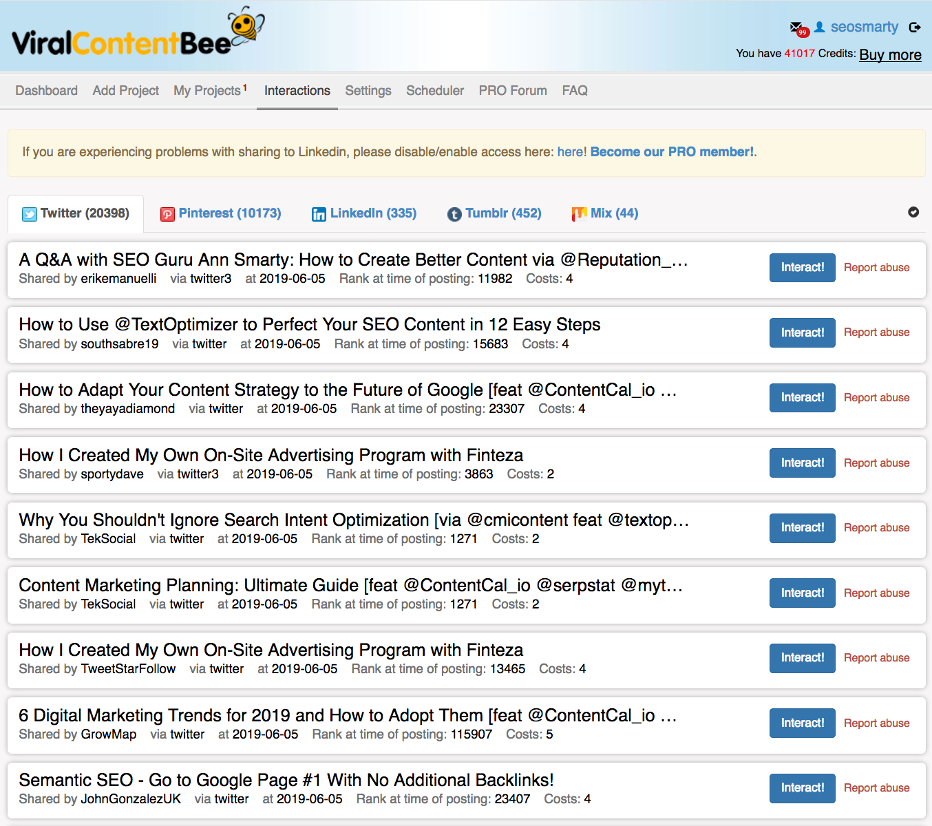 Viral Content Buzz interactions