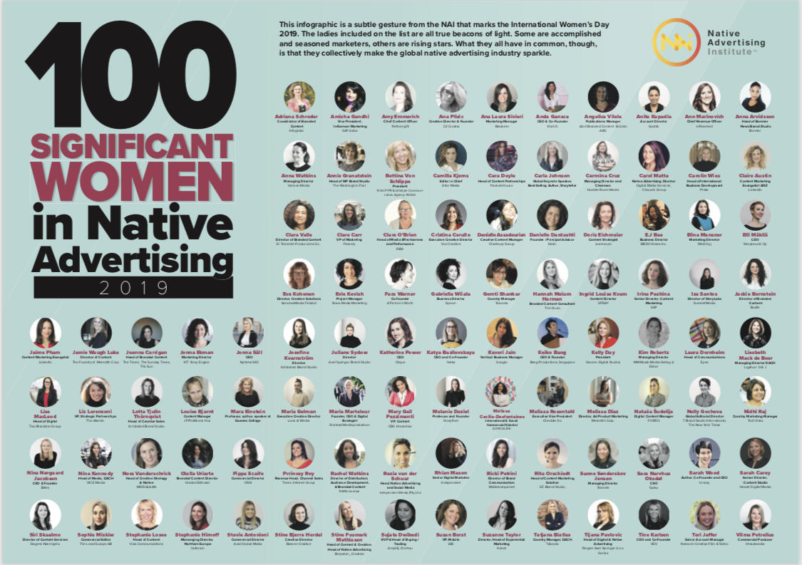 100 Significant Women in Native Advertising Recognized on International Women's Day