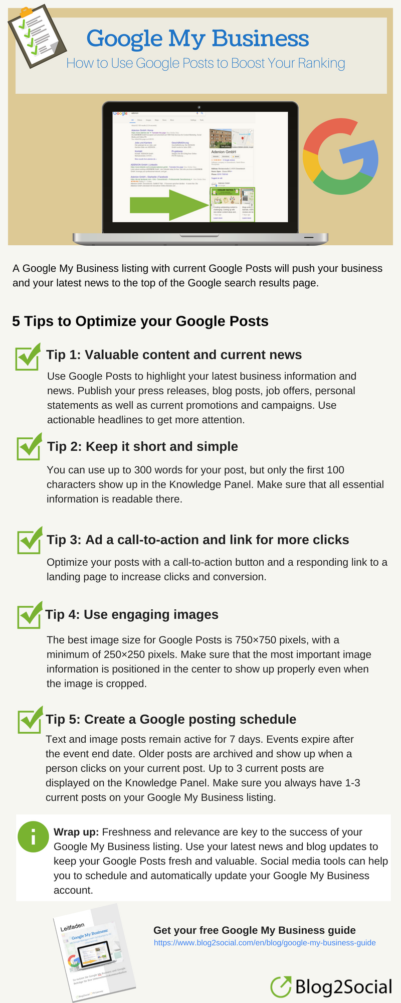 Infographic: 5 tips to optimize Google Posts for your Google My Business listing