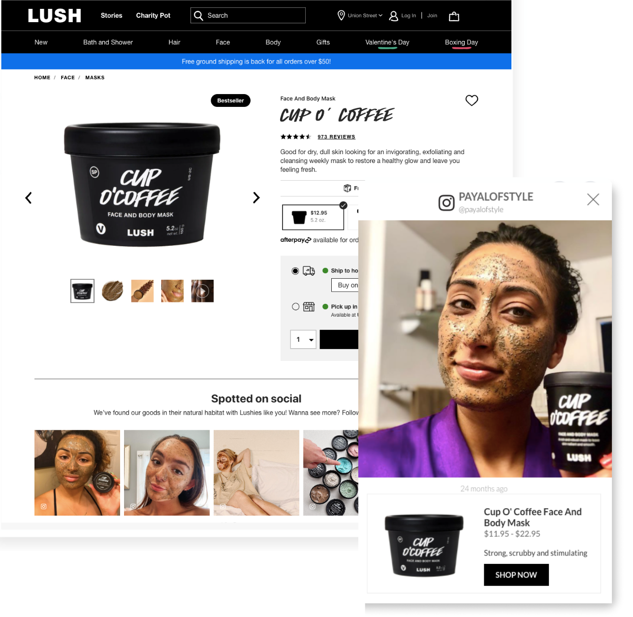 Lush face mask stackla shoppable content