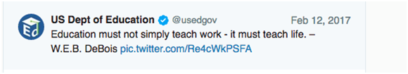 U.S. Department of Education twitter