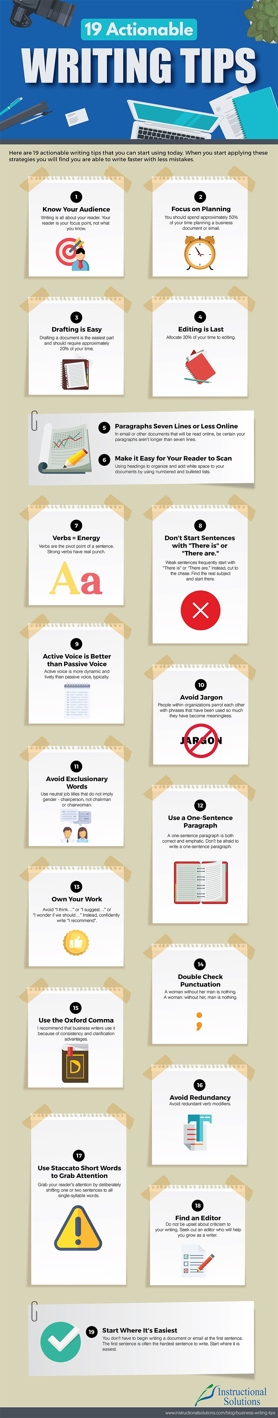 Infographic outlines writing tips to help improve your copy