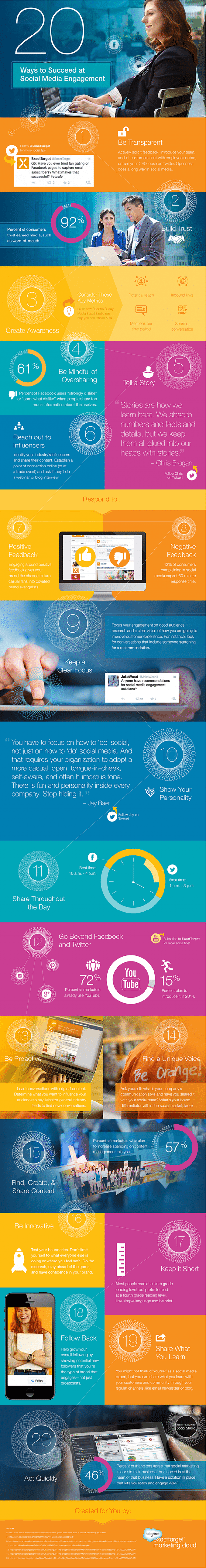 20 tips on how to boost social media engagement infographic