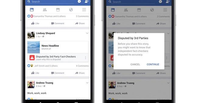 Facebook fact check warning