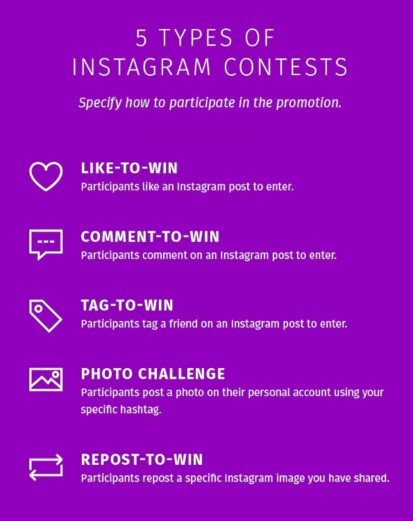5 Types of Instagram contests list