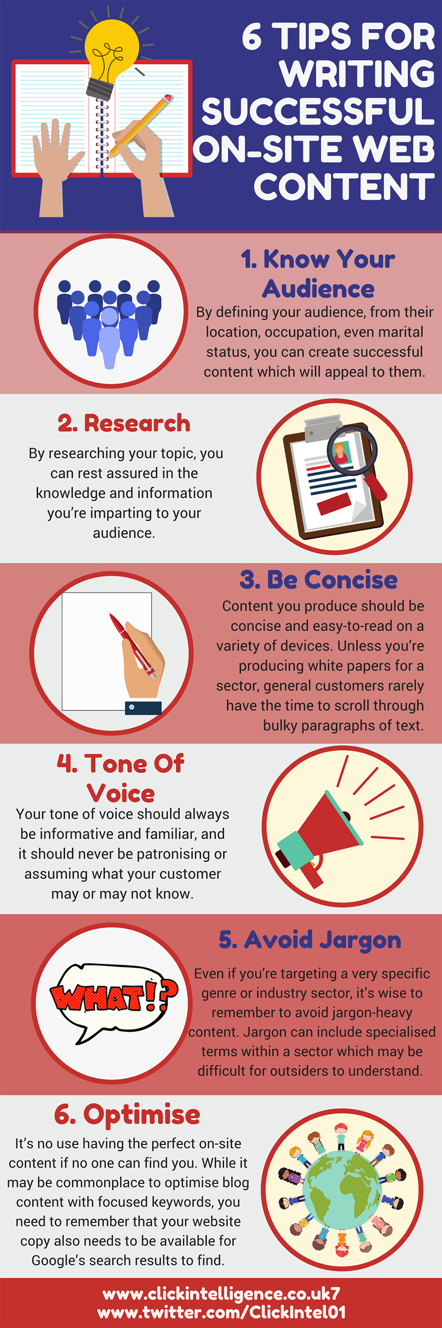 6 tips for writing web content infographic