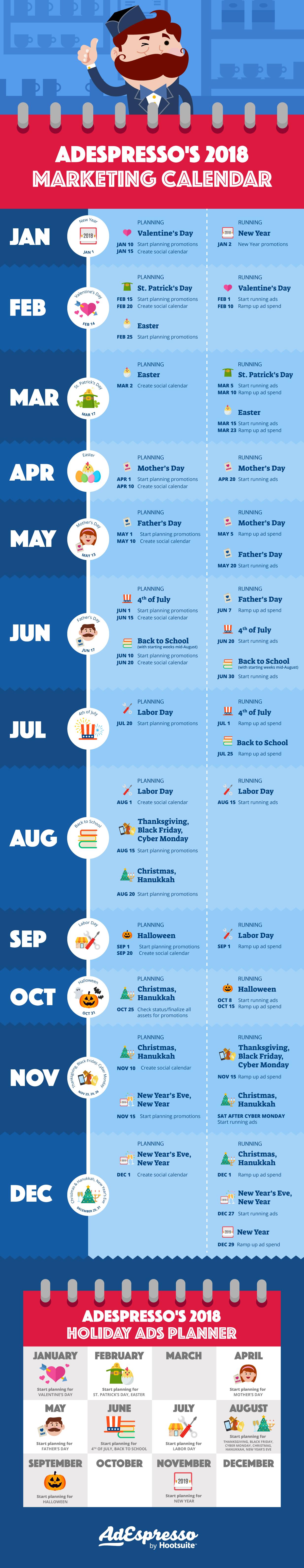 AdEspresso's 2018 Marketing Calendar