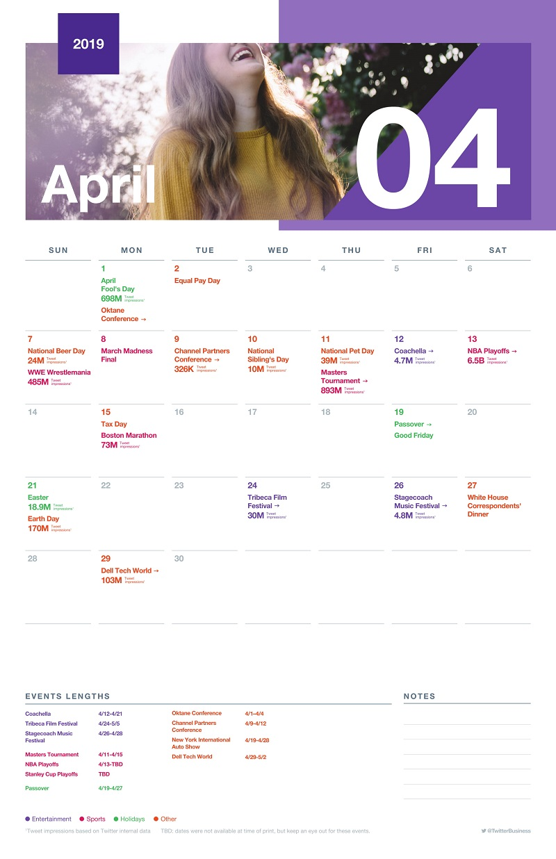 Twitter major events calendar - April 2019