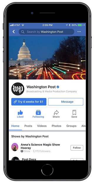 Facebook Instant Articles Page subscription button