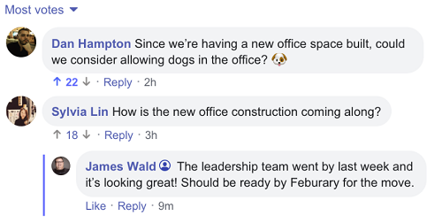 Facebook Workplace update