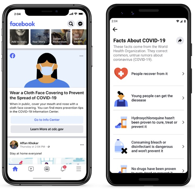 Facebook COVID-19 informativa