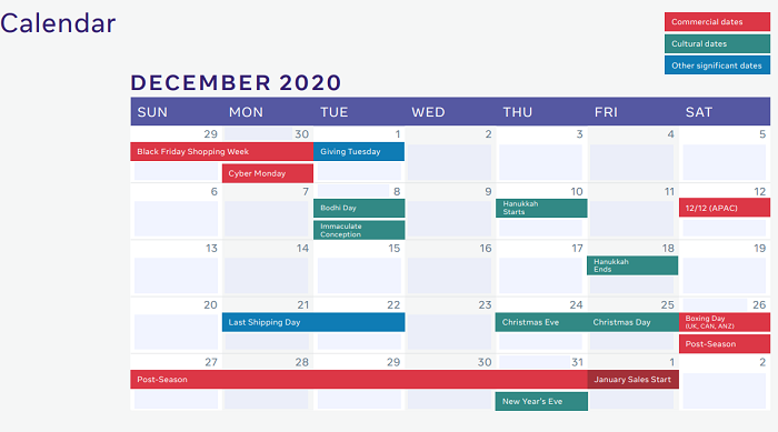 Facebook holiday planning guide 2020
