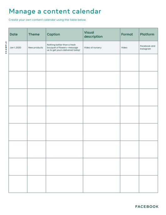 Facebook content calendar template
