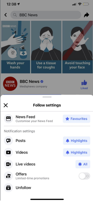 Facebook Page follow options