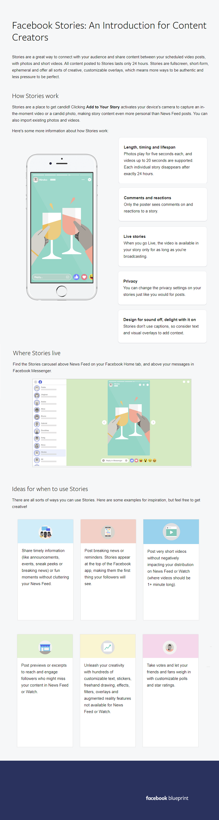Infographic outlines a range of Facebook Stories tips