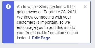 """, Facebook Pages Will Move """"Our Story"""" to """"Additional Information"""""""