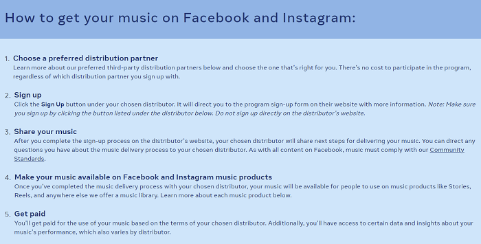 Facebook independent artists program