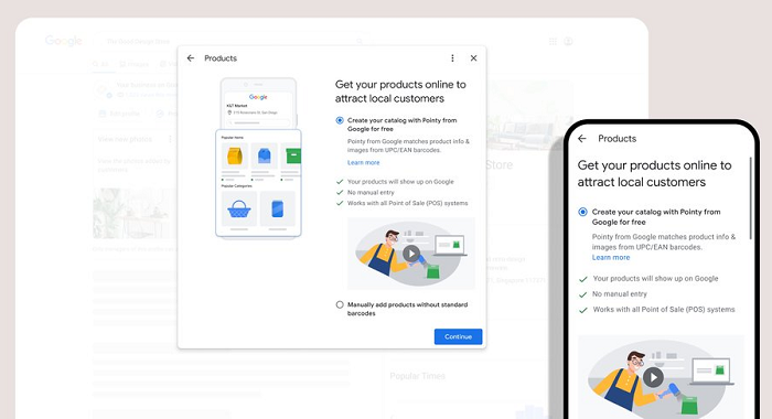 Google Business product listings