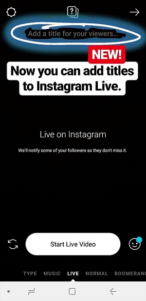 Instagram Live title screen