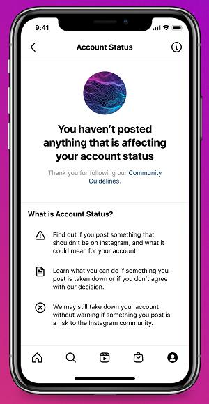 Instagram Account Status overview