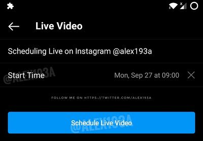 Расписание Instagram Live