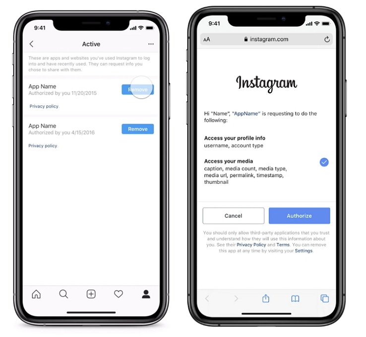 Instagram third party access settings
