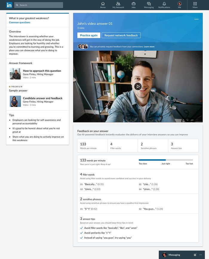 LinkedIn video feedback