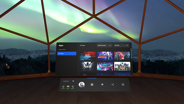 Oculus Quest menu