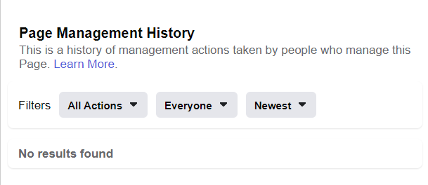 Facebook Page Management history