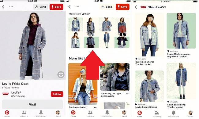 Pinterest 'More from brand' example