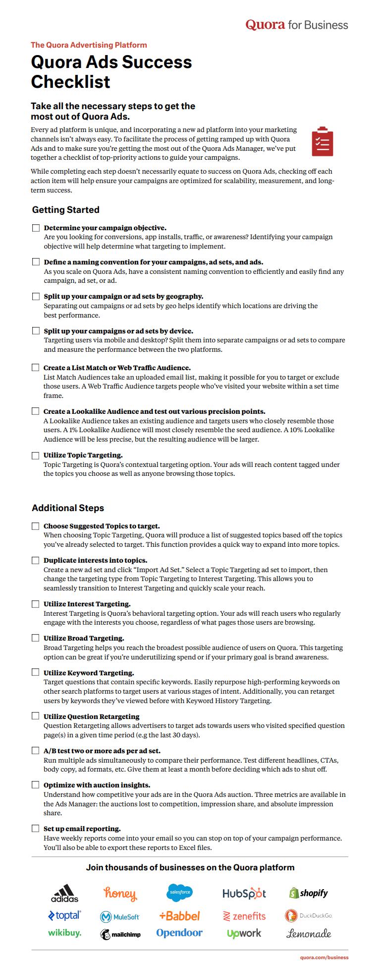 Quora ads checklist