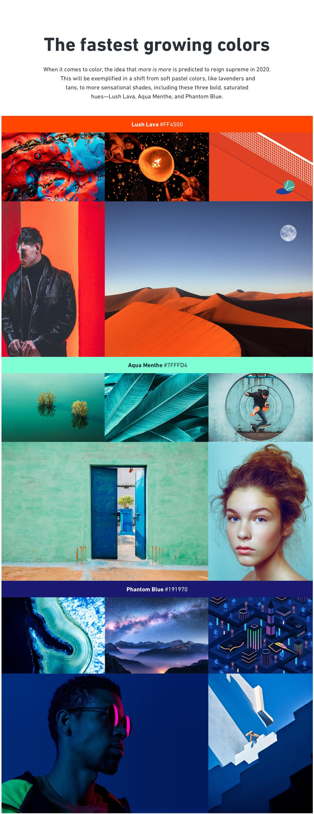 Shutterstock color trends for 2020