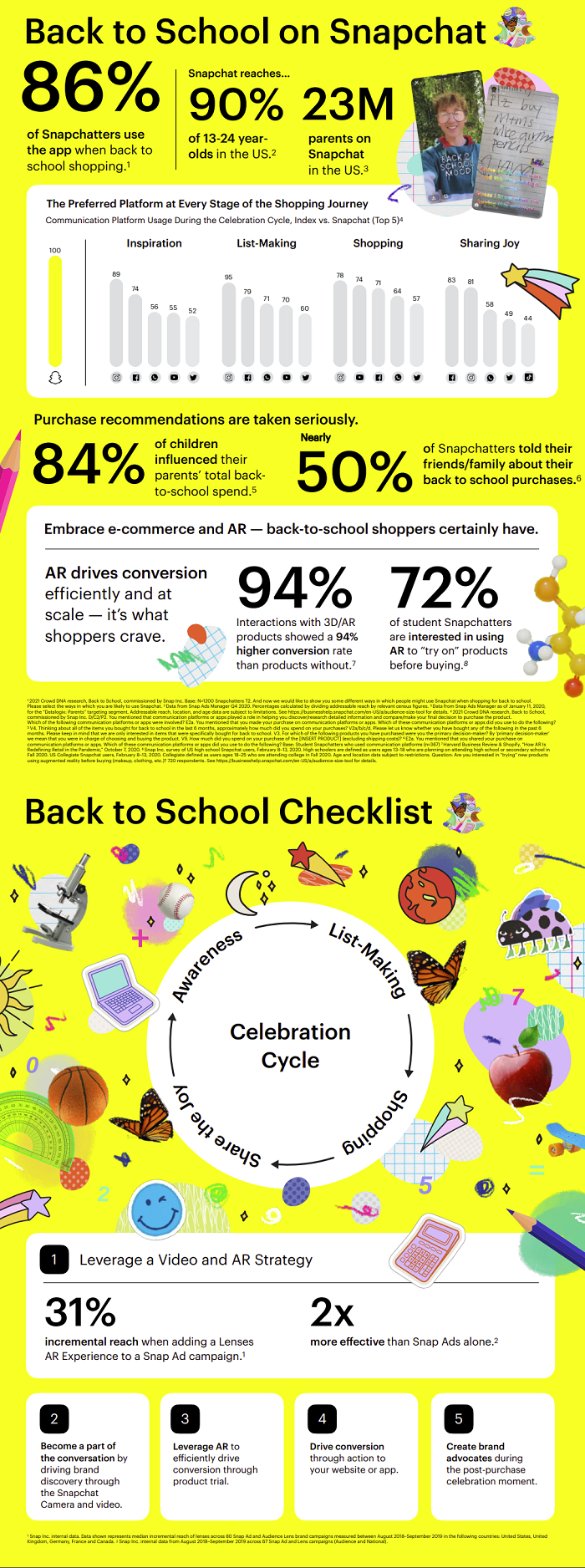 Snapchat back to school checklist