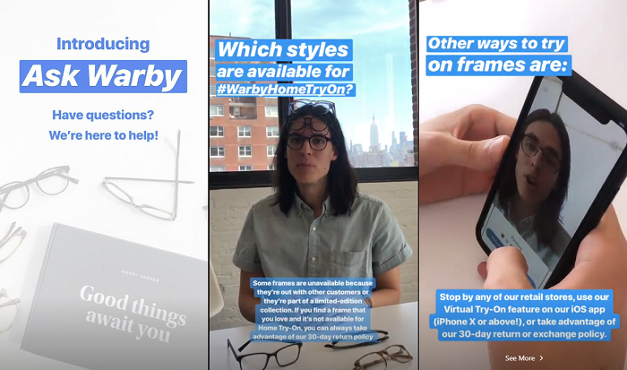 Instagram Stories example - Warby Parker