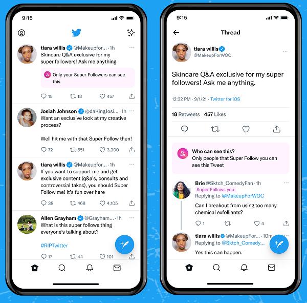 Exemple de Super Follows sur Twitter
