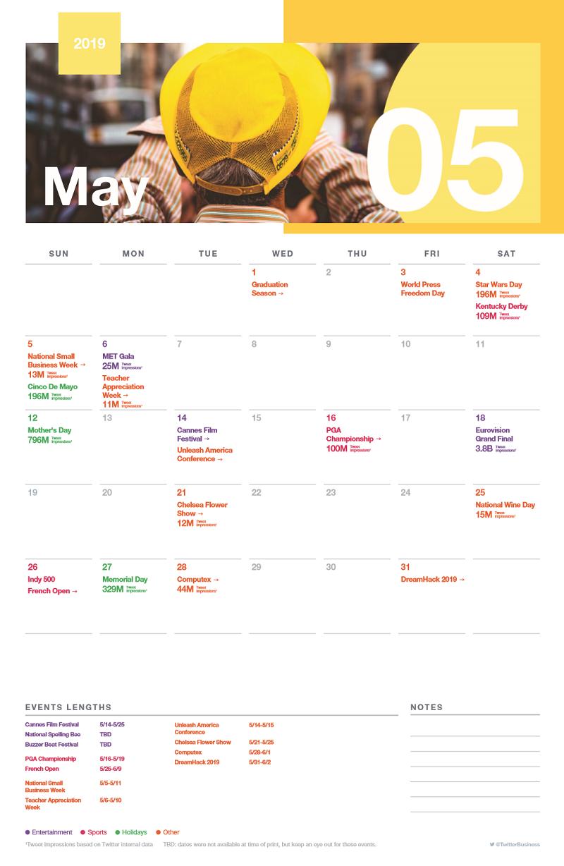 Twitter event calendar - May 2019