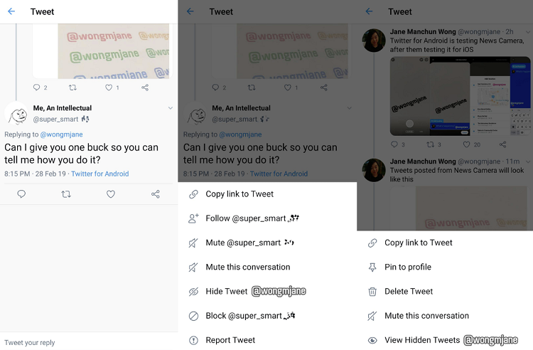 Twitter 'Hide Replies' option