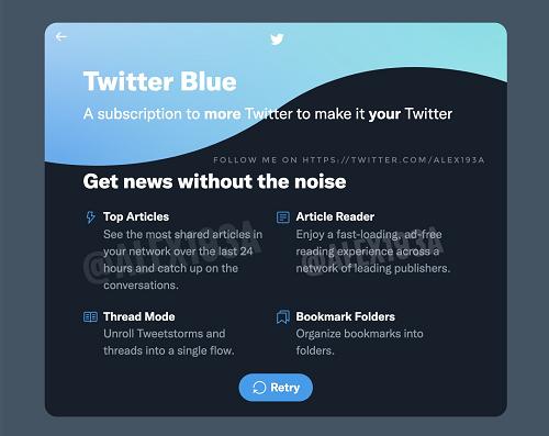 Twitter Blue intro screen