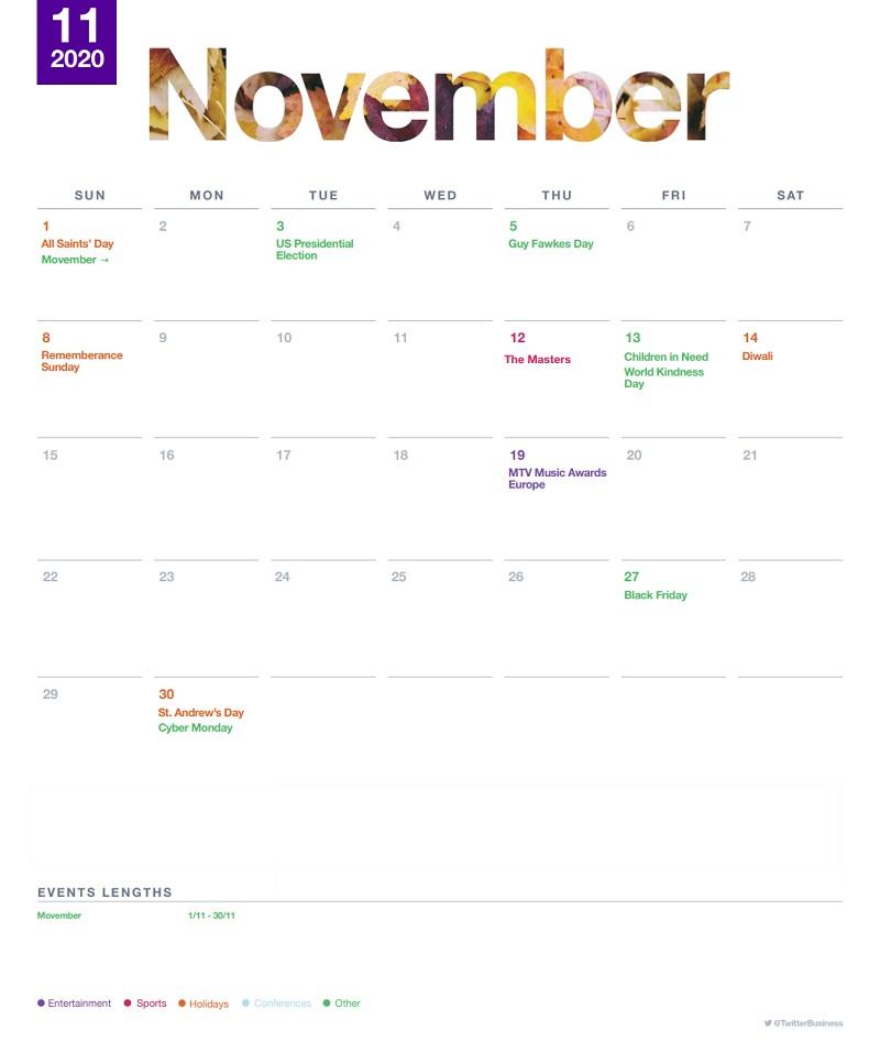 Twitter events calendar - November 2020