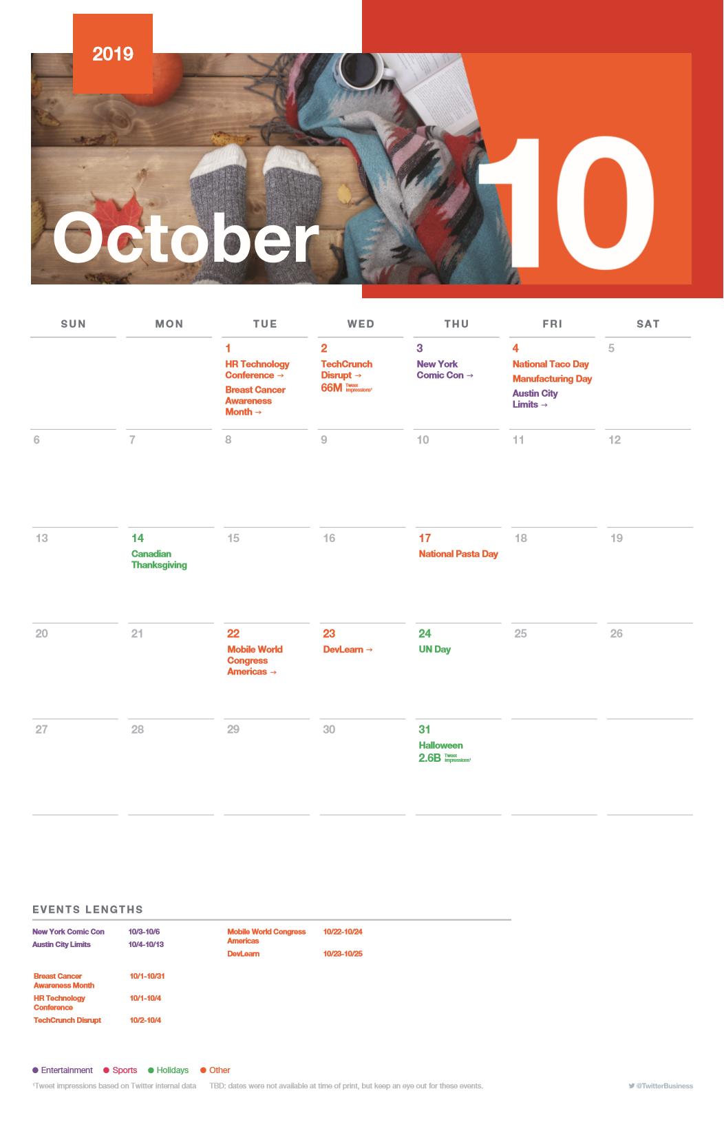 Twitter event calendar - October 2019