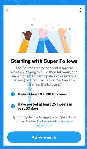 Twitter Super Follow application process