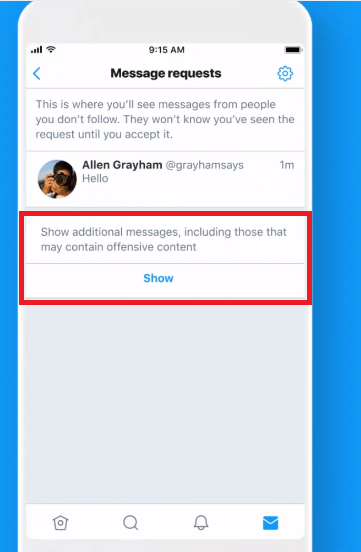 Twitter additional messages filter