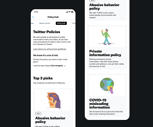 Twitter privacy hub concept