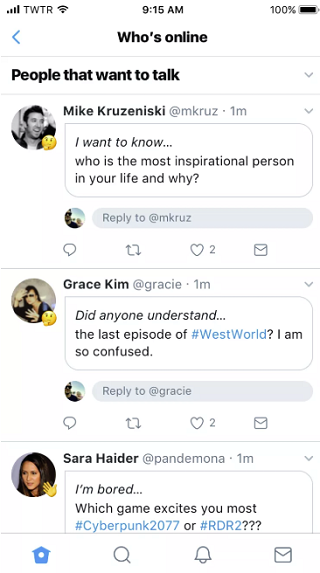 Twitter 'ice breakers' test